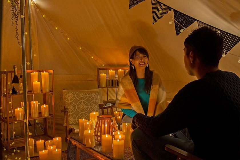 京都るり渓温泉にキャンドルが幻想的に煌めく「CANDLE GLAMPING」が登場!