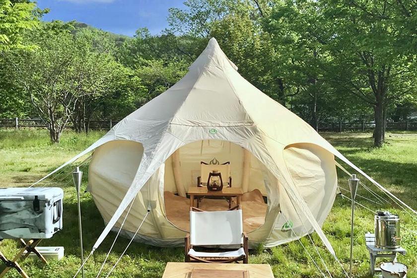 夏に快適キャンプ!お洒落でかわいいロータスベルテント「AIR BUD」!購入予約先行受付開始!